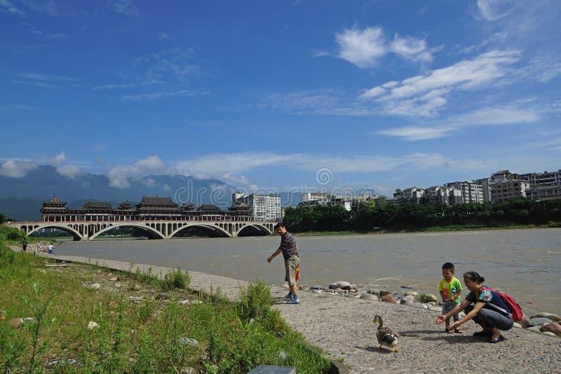 Cina-bello Qingyi fiume di Yaan sotto il sole immagine stock