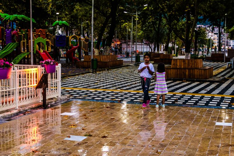 Summer Vacation Town After Heavy Rainfall - Turkey stock images