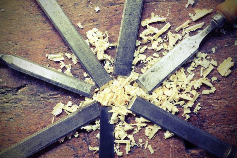 Cinceles de las cuchillas y chippings del serrín fotos de archivo libres de regalías