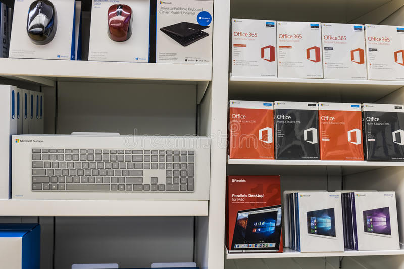 Cincinnati - Circa May 2017: Surface accessories and Office 365 software at a Microsoft Retail Technology Store VII stock images