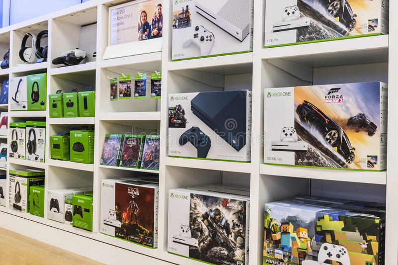 Cincinnati - Circa May 2017: XBOX One Consoles and accessories at a Microsoft Retail Technology Store VI stock images