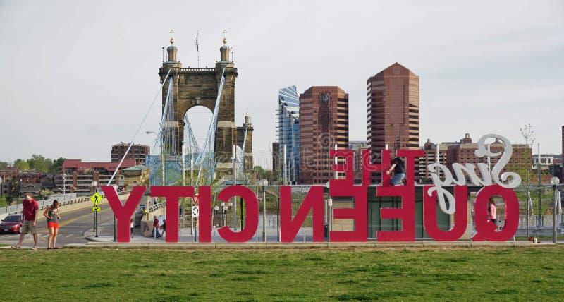 Cincinnati du centre, la ville de la Reine images libres de droits