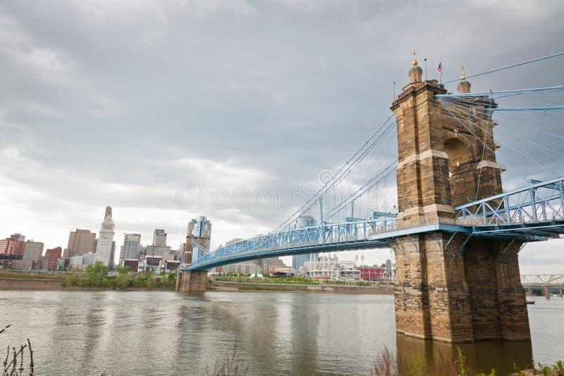Cincinnati, l'OH ed il fiume Ohio fotografie stock