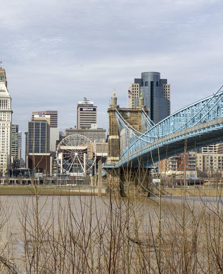 Cincinnati, OH/USA-March 13, 2019-Tourist Cincinnati linia horyzontu widok zdjęcia stock