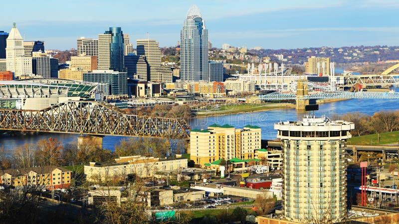 Cincinnati Ohio centrumplats fotografering för bildbyråer