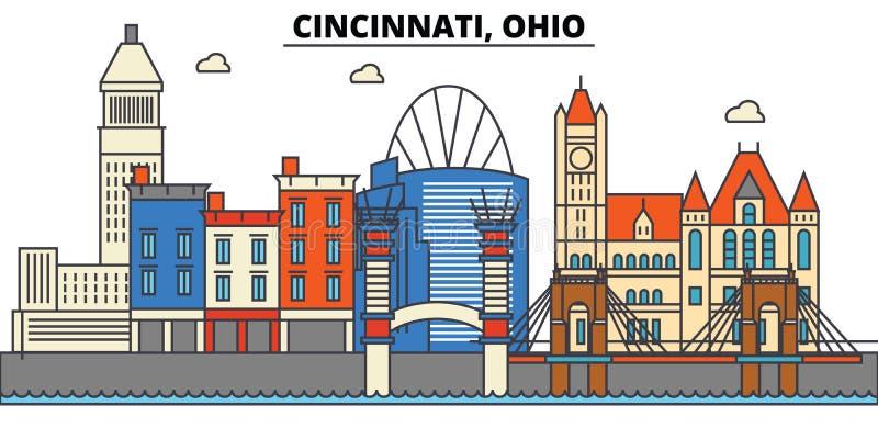 Cincinnati, Ohio De architectuur van de stadshorizon vector illustratie