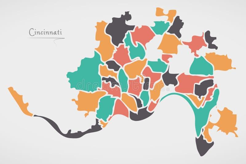 Cincinnati Ohio Map with neighborhoods and modern round shapes. Illustration royalty free illustration