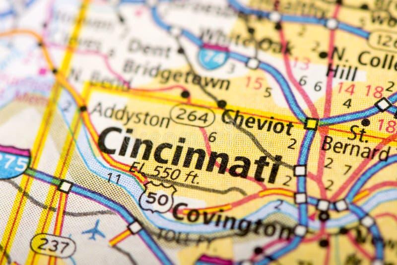 Cincinnati, Ohio sulla mappa fotografia stock