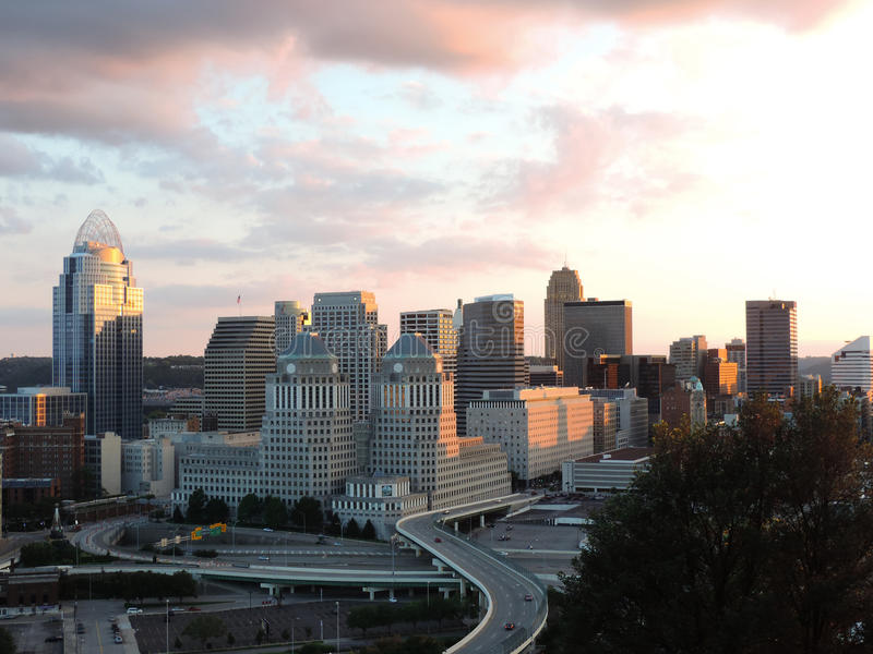 Cincinnati skyline from Mount Adams royalty free stock images