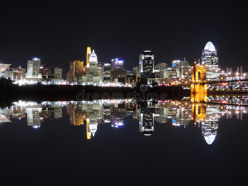 Cincinnati Skyline Reflection royalty free stock photo