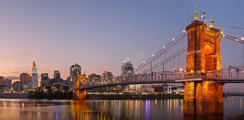 Cincinnati-Skylinepanorama. stockfoto