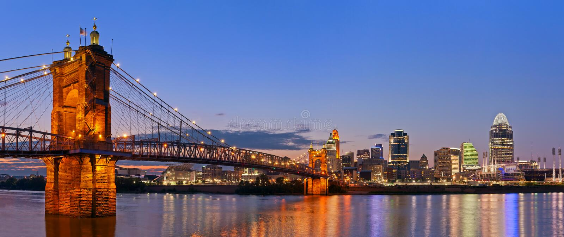 Cincinnati-Skylinepanorama. lizenzfreie stockfotos