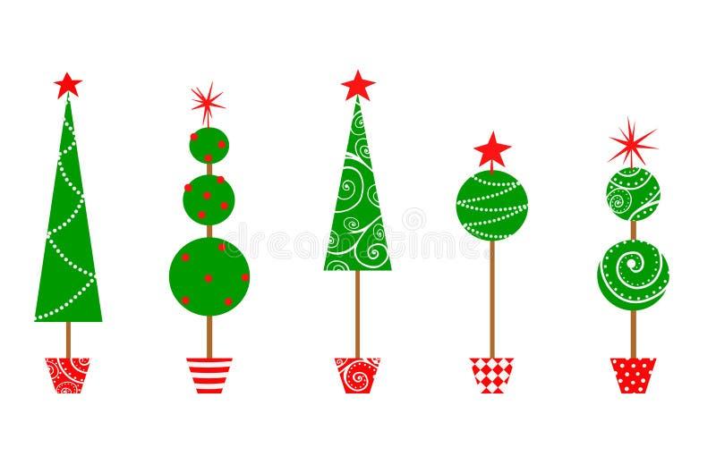 Cinco árvores do Topiary do Natal ilustração do vetor