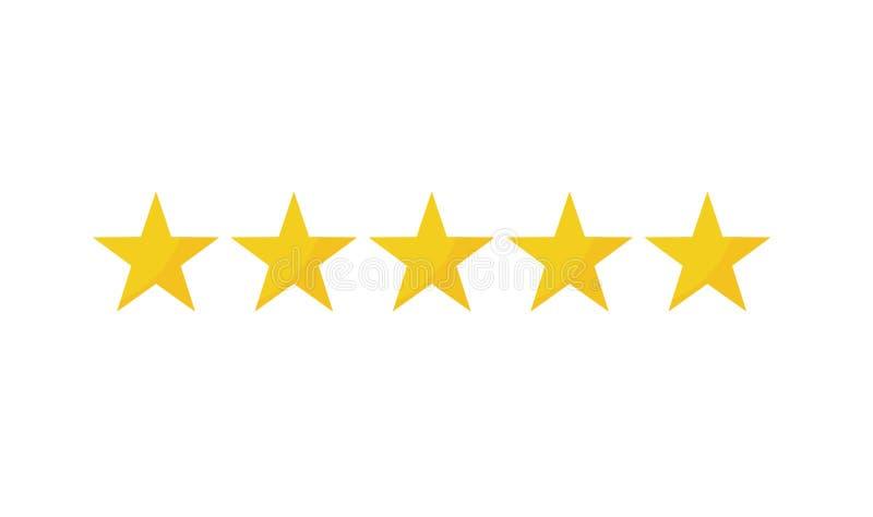 Cinco ícones amarelos da estrela ilustração stock