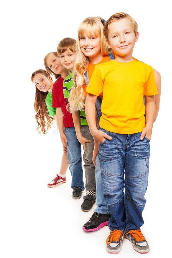 Cinco amigos felices imagen de archivo