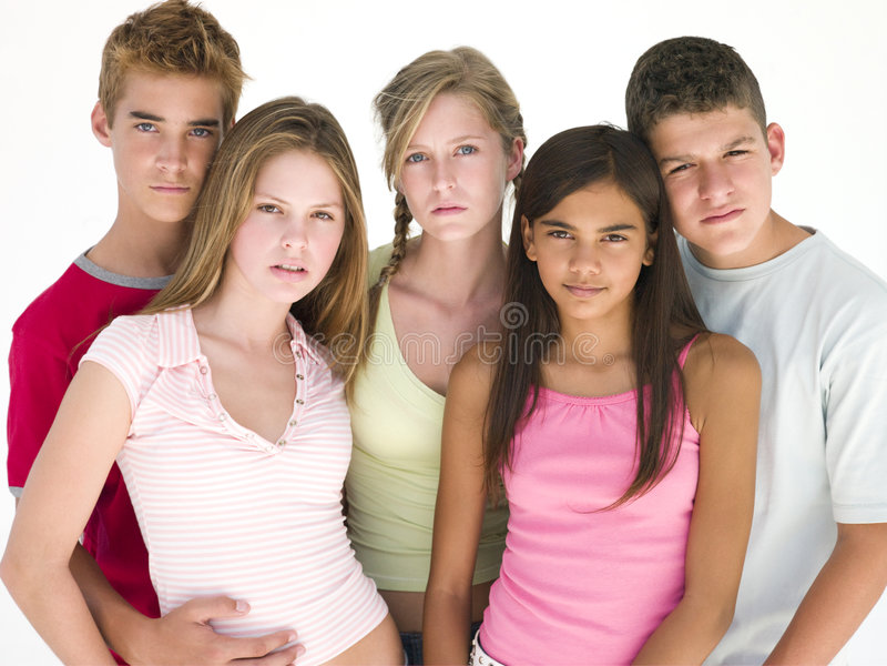 Cinco amigos junto imagem de stock