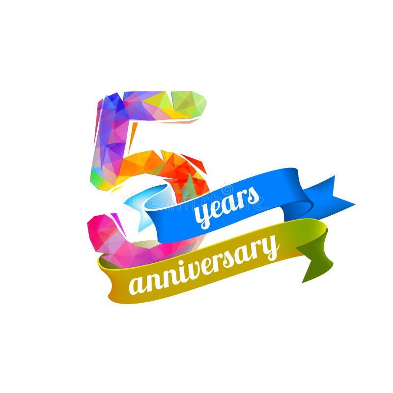 5 cinco anos de aniversário ilustração royalty free
