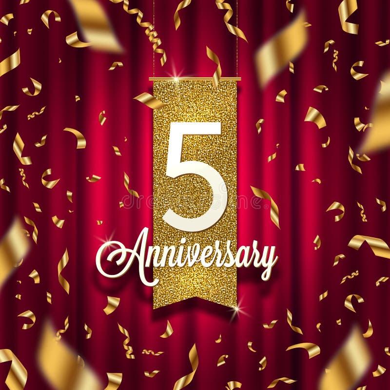 Cinco anos de quadro indicador dourado do aniversário no projetor no fundo vermelho da cortina e em confetes dourados ilustração do vetor