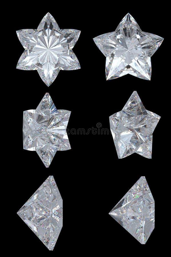 Cinco apontados, seis estrelas do diamante do ponto ilustração royalty free