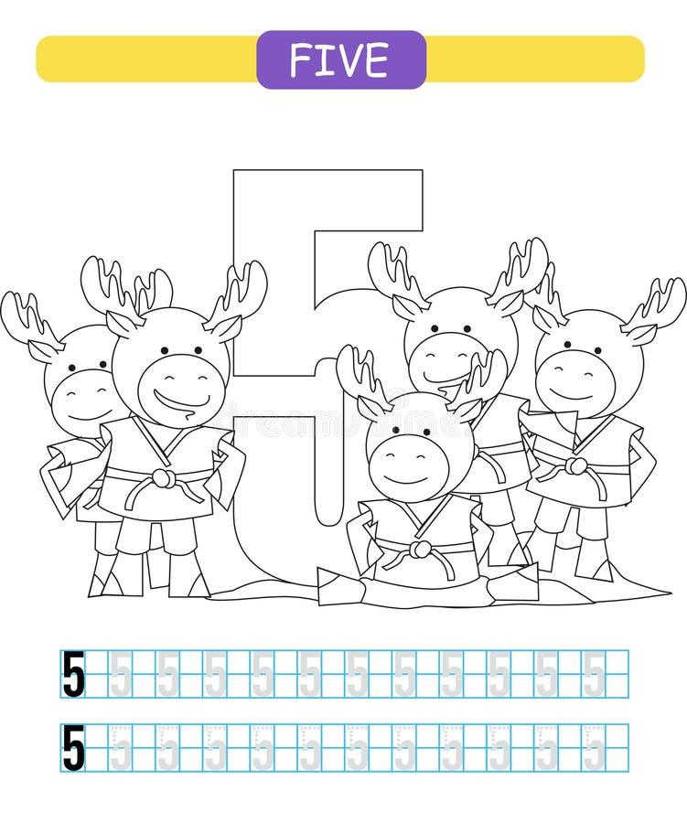 cinco Aprendendo o número 5 Folha imprimível colorindo para o jardim de infância e o pré-escolar alces ilustração royalty free