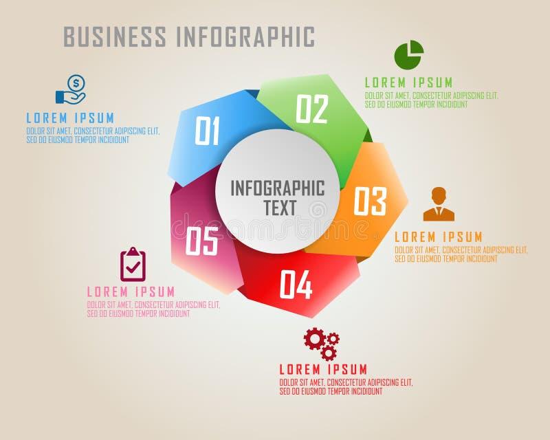 Cinco arrinconados con infographics del negocio de cinco colores en estilo del pentágono ilustración del vector