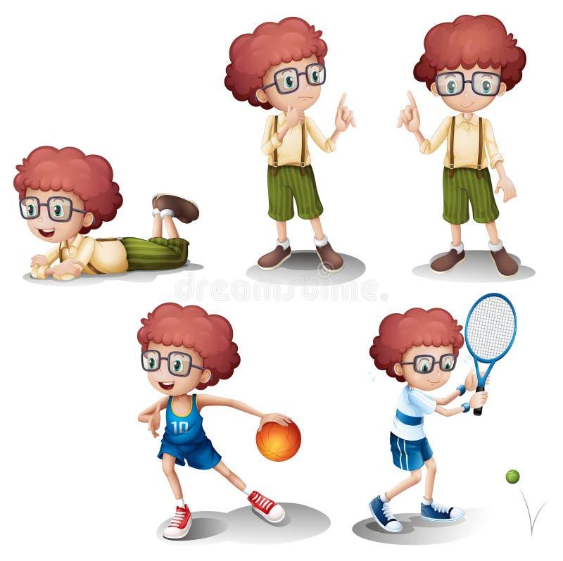 Cinco atividades diferentes de um menino novo ilustração royalty free