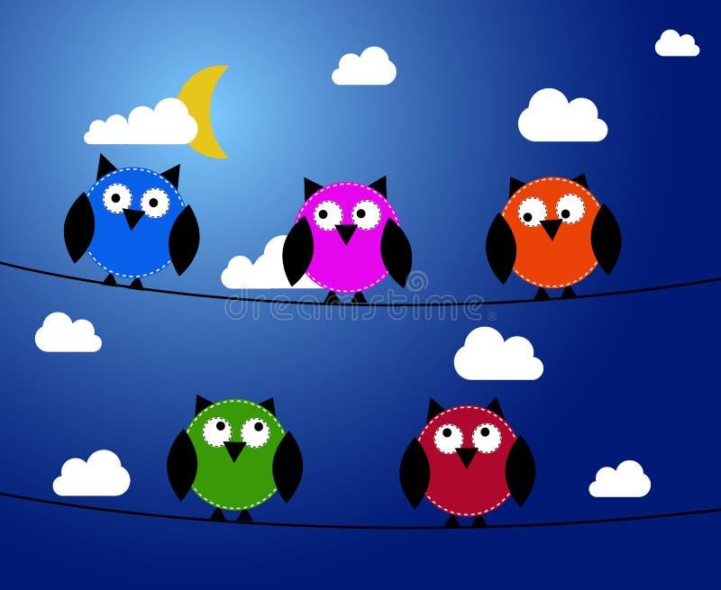 Cinco búhos en la noche ilustración del vector