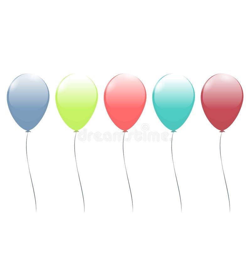 Cinco balões multicoloridos isolados no branco ilustração stock