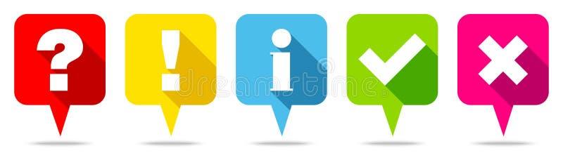 Cinco bolhas coloridas do discurso questionam marcas de verificação da informação da resposta ilustração royalty free