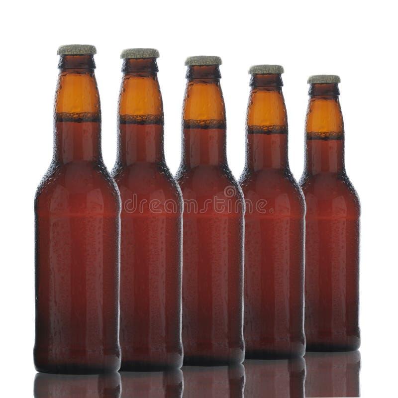 Cinco botellas de cerveza de Brown foto de archivo libre de regalías