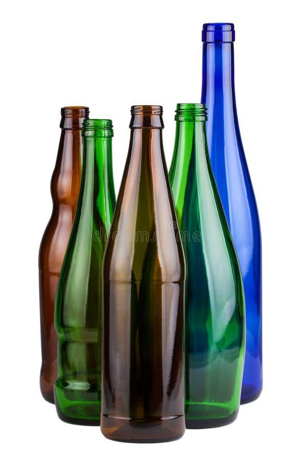 Cinco botellas vacías imagenes de archivo