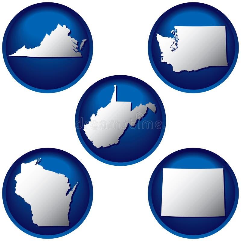 Cinco botones de Estados Unidos ilustración del vector