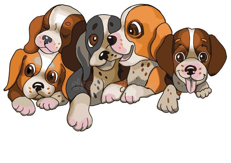 Cinco cães pequenos felizes ilustração royalty free