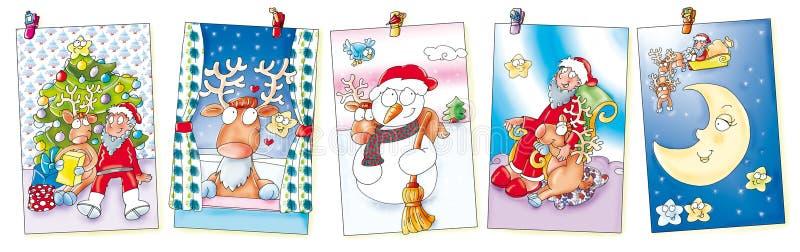Cinco cartões de Natal que penduram com pregadores de roupa alces, Papai Noel, trenó e lua ilustração royalty free