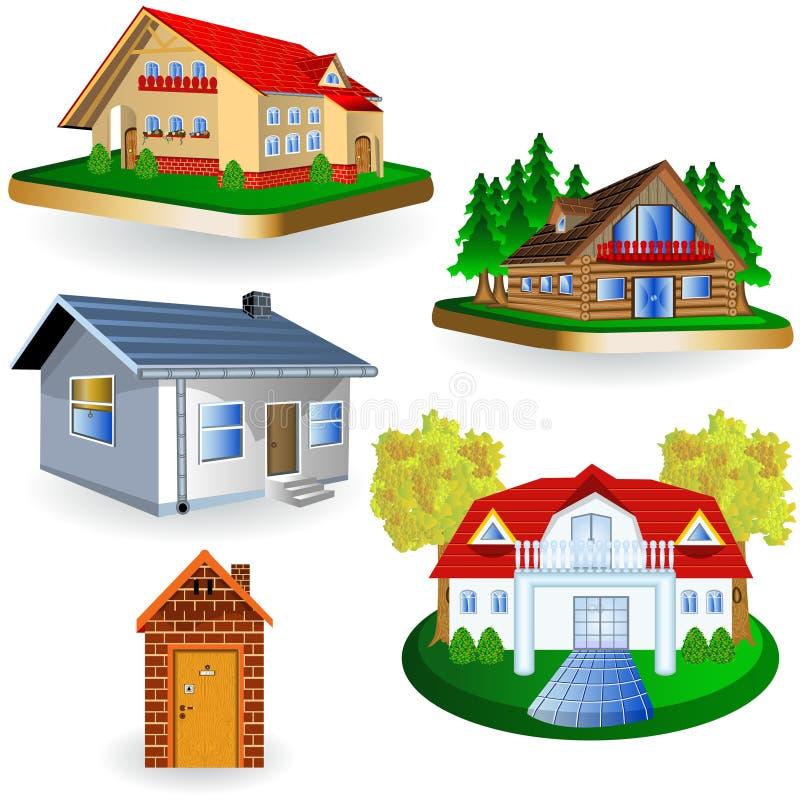 Cinco casas ilustração do vetor
