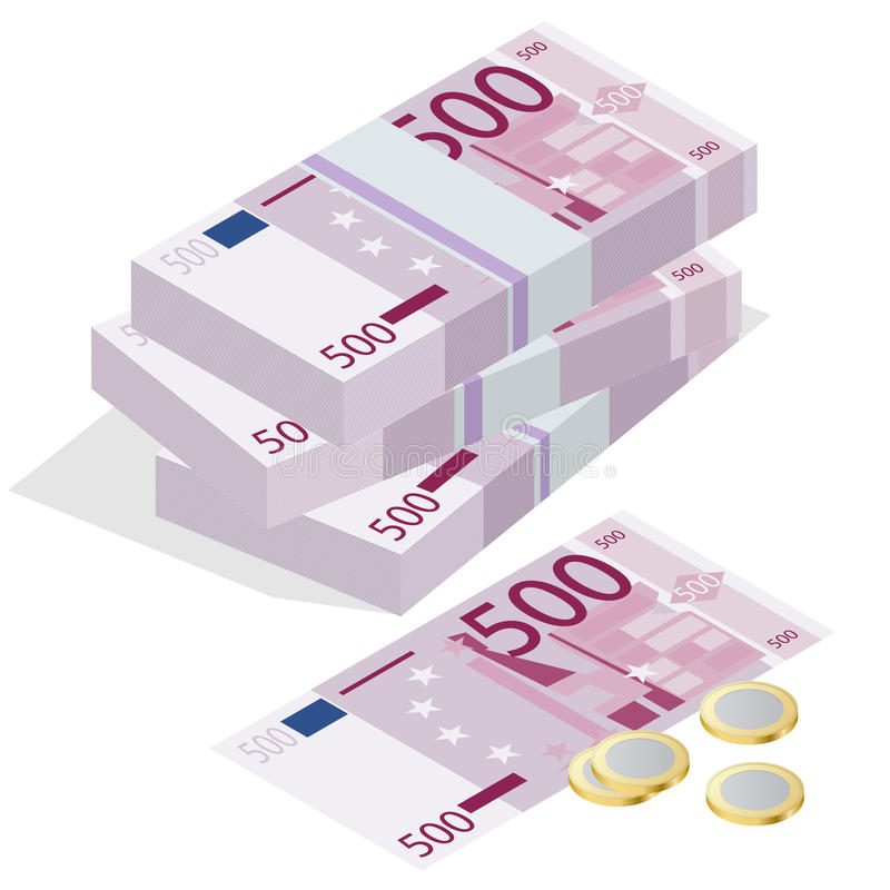 Cinco cem cédulas do euro e uma euro- moeda em um fundo branco Conceito isométrico da ilustração do vetor 3d liso ilustração stock