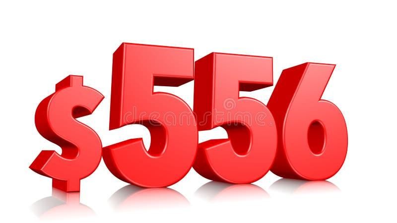 556$ cinco cem e cinquenta e seis símbolos do preço número vermelho 3d do texto para render com sinal de dólar no fundo branco ilustração royalty free