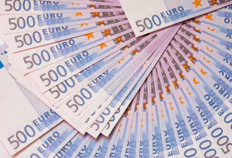 Cinco-centésimas euro- notas de banco imagem de stock