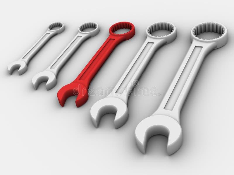 Cinco chaves inglesas ilustração stock
