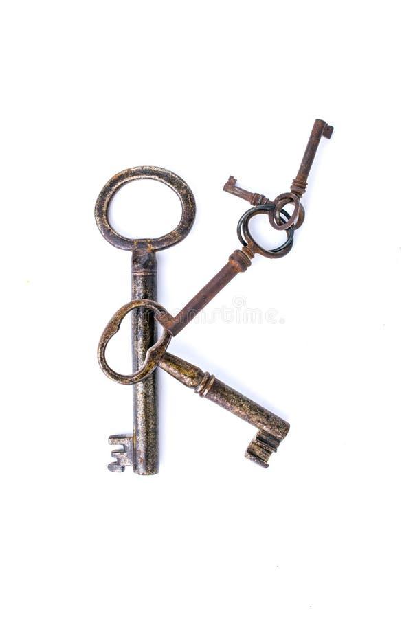 Cinco chaves velhas fotografia de stock