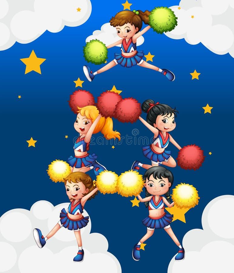 Cinco cheerdancers que bailan con sus pompoms ilustración del vector