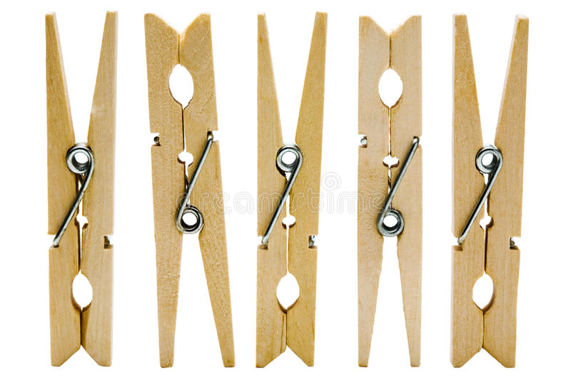 Cinco clothespins fotografia de stock