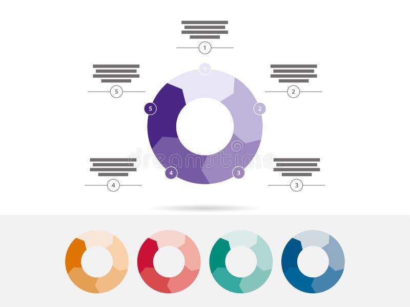 Cinco coloridos tomaram partido vetor infographic da carta do diagrama da apresentação do enigma ilustração stock
