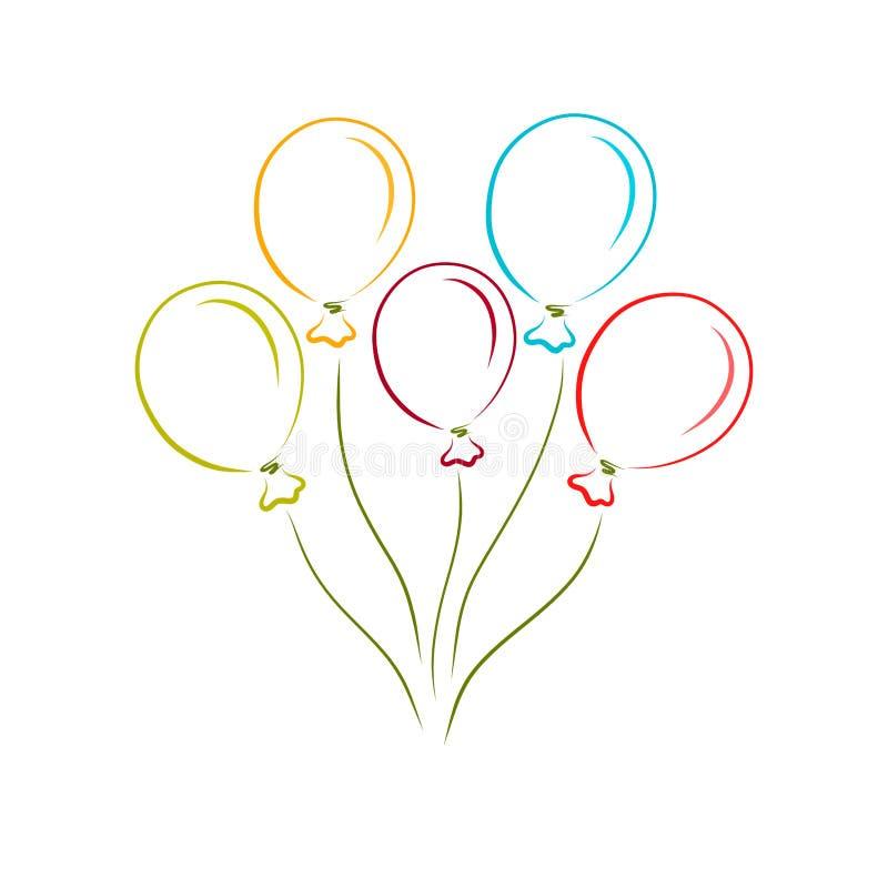 Cinco coloriram balões de voo com filamentos ilustração royalty free