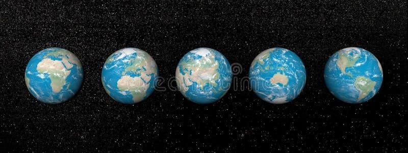 Cinco continentes - 3D rinden ilustración del vector
