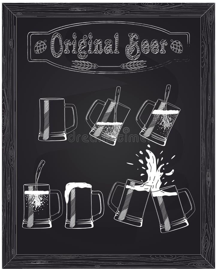 Cinco copos bonitos da cerveja ilustração stock