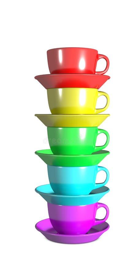 Cinco copos de café empilhados usando cores do arco-íris ilustração royalty free
