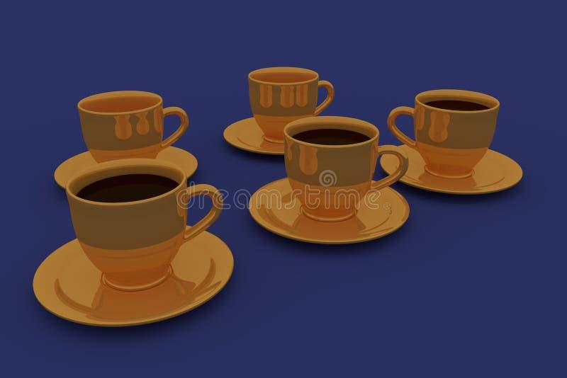 Cinco copos de café olden ilustração do vetor