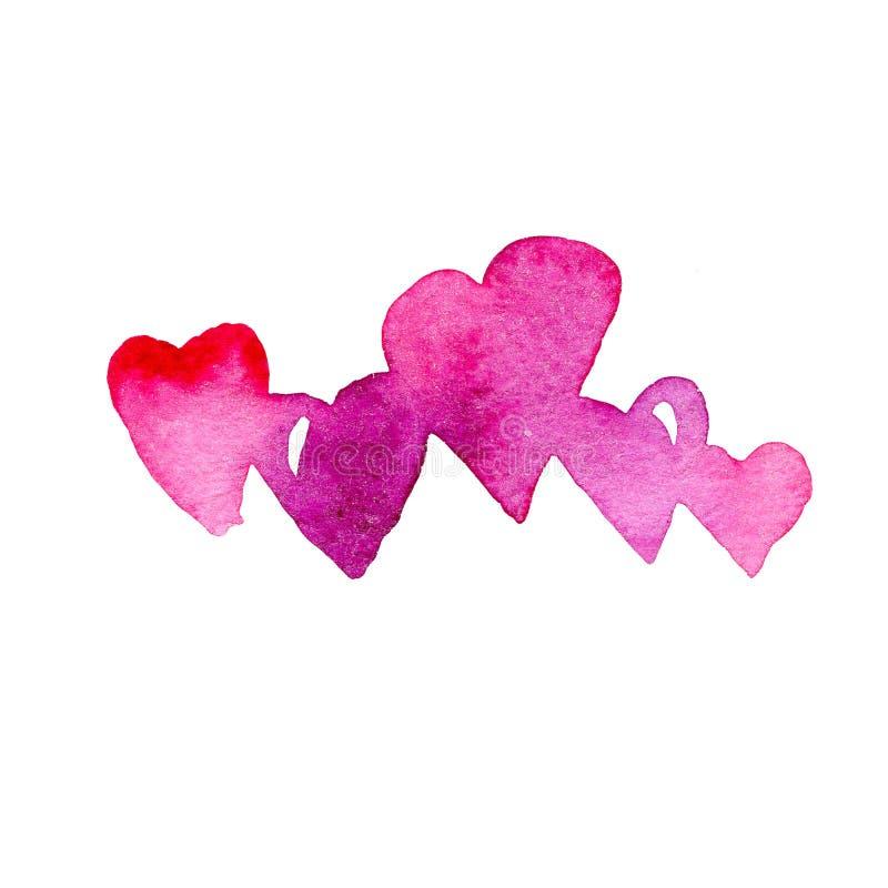 Cinco corazones púrpuras y rosados Ejemplo dibujado mano de la acuarela aislado en el fondo blanco libre illustration