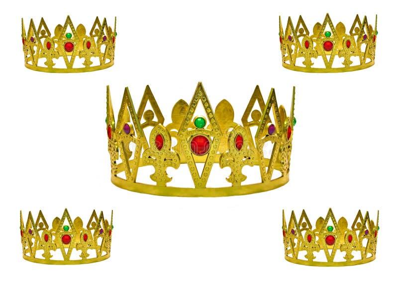 Cinco coronas del oro stock de ilustración